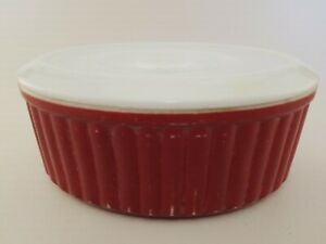 Vintage Mid Century Modern Red Glassware Covered Dish   a4