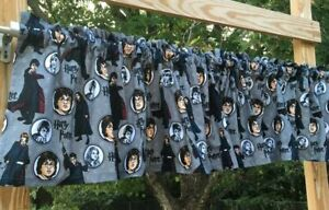 Handcrafted Valance Custom Sewn from Harry Potter Comic Character Gray Fabric