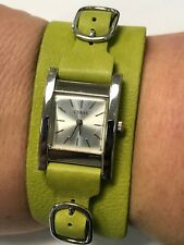 Guess Watch Strap Band Genuine Green Leather Strap Wrist Watch