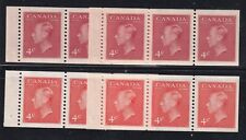 """Canada Stamps 287a x2, 306a x2, KGVl 4c """"chewing gum"""" booklet panes VFmnh"""