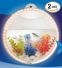 2 X LED Light Wall Hanging Mount Beta Fish Bubble Aquarium Bowl Tank