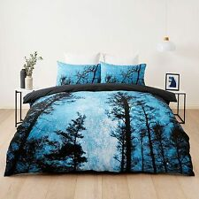 FOREST WOODS TREES BLUE BLACK DOUBLE bed QUILT DOONA COVER SET NEW