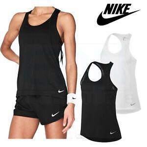 Womens Nike Breathe Tank Top Ladies Vest Racer Back Girls Black White Gym Yoga