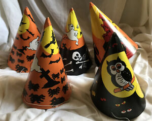 Vintage Five Halloween Party Hats Paper Witch, Ghost, Owl, Black Cat