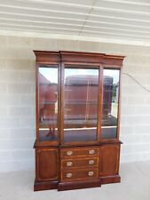 """Hickory Chair Georgian Style Mahogany Banded Breakfront China Cabinet 54""""W"""