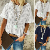 ZANZEA 8-20 Women Summer Short Sleeve Eyelets Top Tee T Shirt Pullover Blouse