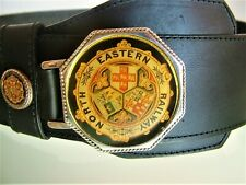 North Eastern Railway Belt Black Leather Vintage