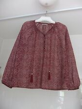 M&S Collection Sheer Blouse Chiffon Cover-Up Size 14 Mulberry / Dark Red Spotty
