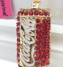 Betsey Johnson Necklace COCA COLA COKE Red Gold Crystal COKE CAN BLING