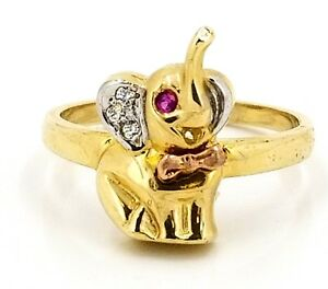 Real 10k Tri Color Gold Elephant with CZ Ladies Ring