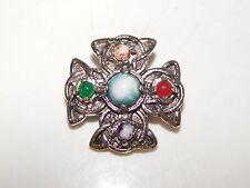 Heathergems Heather Gems Celtic Knot Scottish Silver tone Brooch Pin 2b 90