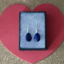Beautiful Earrings With Lapis Lazuli &Diamantino 7.4 Gr.3.5 Cm Long+Silver Hooks