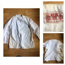 Vtg 1950s Dayton Rr Brand Work wear Sz 40 Frock Jacket No Buttons Stained White