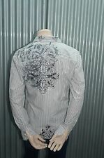191 Unlimited White Striped Tattoo Button-Up NWT S