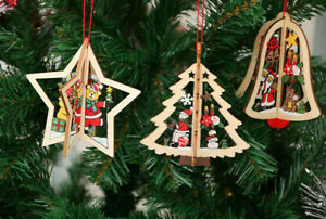 3D Chritmas Wooden Craft Tree Hanging Ornament Xmas Party Pendant Snowflake AU