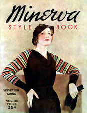 Minerva #35 c.1934 Vintage Knitting Patterns for Women's Fashions in Color!