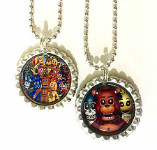 """SET OF 2  """"FIVE NIGHTS AT FREDDY'S"""" Flat Bottlecap necklaces! Party favor!"""
