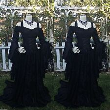 Long Sleeve Black Lace Gothic New Wedding Dress Halloween Bridal Gown Size 2-28+
