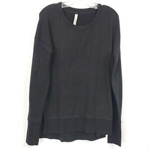 Athleta Womens Medium Tall Sweatshirt Coaster Luxe Black Long Sleeve Pullover MT