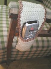 REMOTE CONTROL HOLDER OVER CHAIR ARMS HOLDS 2 -HAND CROCHET