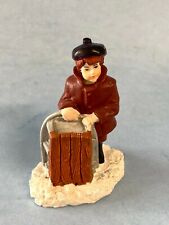 """Christmas Village Accessory - Girl With Sled 2.25"""" - Dept 56 / Lemax"""