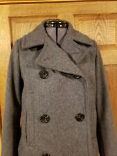 WOMEN GAP JUNIOR HEAVY PEACOAT JACKET GREY M RECYCLED WOOL BLEND LINED POCKETS