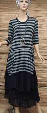 LAGENLOOK BEAUTIFUL AMAZING LOVELY QUIRKY STRIPED LONG DRESS*BLACK/GREY*BUST 40""
