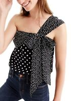 J. Crew Women's One Shoulder Sleeveless Silk Top Polka Dot Black / Ivory Size 10