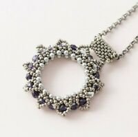 Silver Tone Seed Bead Beaded Hand Woven Handmade Artisan Pendant Necklace