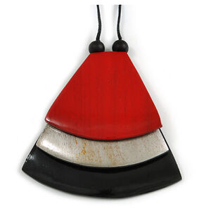 Red/ Metallic Silver/ Black Geometric Triangular Wood Pendant with Long Black Co