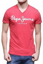 Original T-Shirt Col V Manches Courtes PEPE JEANS PM500373 Rouge Délavé T.M
