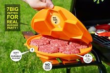 Silicone Burger Press 7 Cave Patty Maker Non Stick Meat Freezer Container Yellow