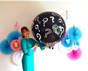 Gender Reveal Balloon Question Mark Balloon Black Baby Shower Butterfly confetti
