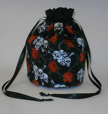 Black & White Skull And Cross Bones with Red Roses Evening Fancy Dress Hand bag