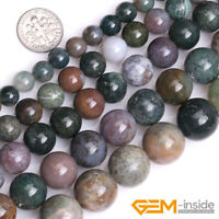 "Natural Indian Agate Gemstone Round Loose Spacer Beads For Jewelry Making 15"" YB"