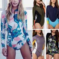 Women Long Sleeve Surfing Diving Swimsuit One Piece Monokini Floral Bathing Suit