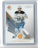 Jason Pominville Buffalo Sabres 2017-18 Sp Authentic Hockey Limited Auto