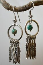 """Silver Artisan Open Circle Turquoise Feather Dreamcatcher 2"""" Dangle Earrings"""