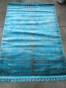 Allmode Homestyle Area Rug Broken Fringed Turquoise Blue Brown 130cm x 190cm
