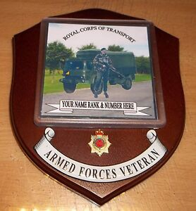 Royal Corps of Transport Veteran Wall Plaque with your name, rank and number.