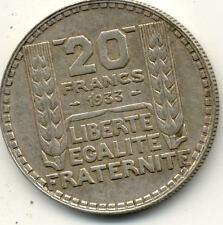 Pièce monnaie FRANCE 20 francs TURIN argent silver 1933 état voir scan