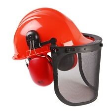CHAINSAW SAFETY HELMET WITH MESH VISOR, INCLUDING EAR MUFFS