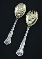 "VINTAGE ORNATE KINGS PATTERN SILVER PLATE 8.5"" BERRY FRUIT SALAD SERVING SPOONS"