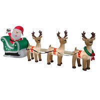 CHRISTMAS SANTA SLEIGH REINDEER  SLED  AIRBLOWN INFLATABLE DECORATION  12.5 FT