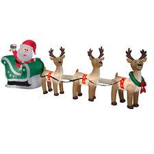 CHRISTMAS SANTA SLEIGH REINDEER  SLED  AIRBLOWN INFLATABLE DECORATION  12.5 FT