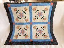 Machine appliqué floral lap size quilt top#A-001