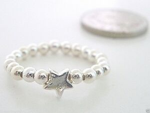 Star Beaded Sterling Silver Elasticated Ring, Stacking Toe Thumb Ring for Women