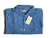 RM Williams Mens Collins Long Sleeve Button Up Shirt Blue/LBlue Check Size 3XB