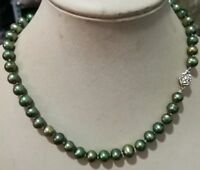 Beautiful!7-8mm Green freshwater Cultured Pearl Necklace 18''