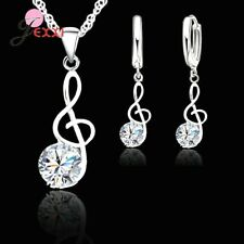 925 Sterling Silver Musical Note Crystal Pendant Necklace and Earring Set **UK**